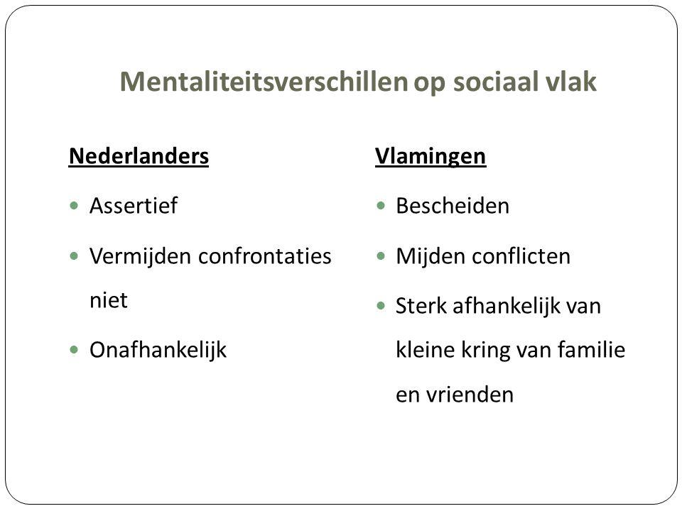Mentaliteitsverschillen op sociaal vlak Nederlanders Assertief Vermijden confrontaties niet Onafhankelijk Vlamingen Bescheiden Mijden conflicten Sterk