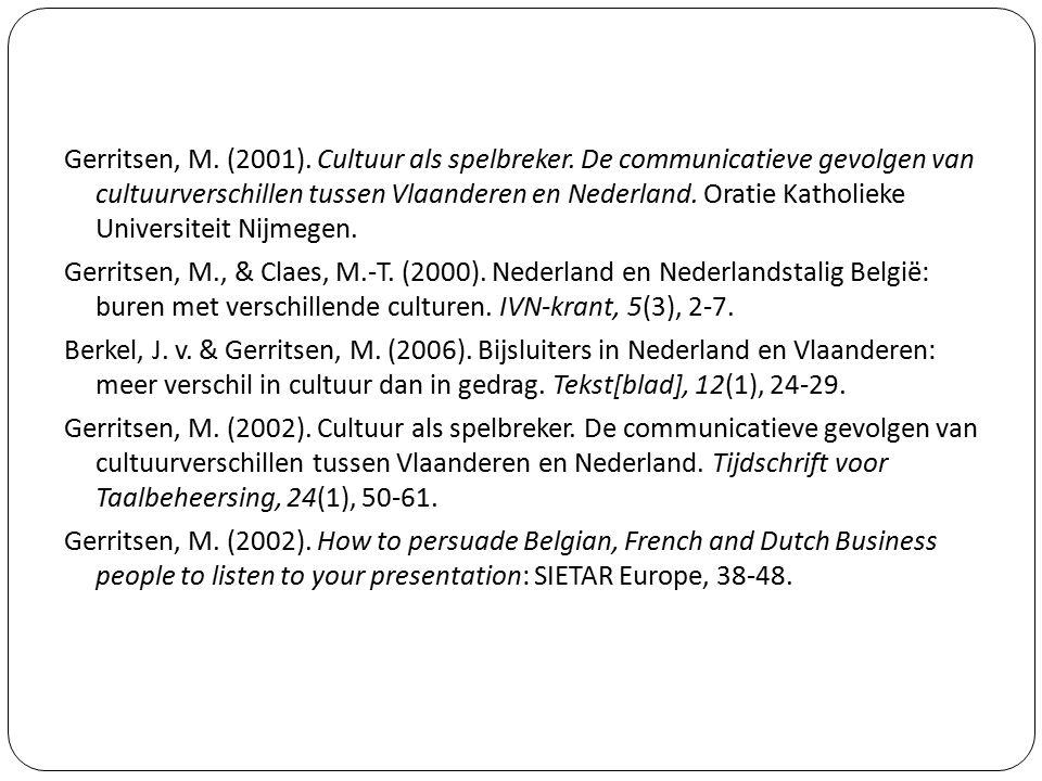 Gerritsen, M. (2001). Cultuur als spelbreker. De communicatieve gevolgen van cultuurverschillen tussen Vlaanderen en Nederland. Oratie Katholieke Univ