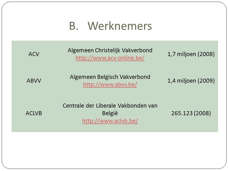 B.Werknemers ACV Algemeen Christelijk Vakverbond http://www.acv-online.be/ 1,7 miljoen (2008) ABVV Algemeen Belgisch Vakverbond http://www.abvv.be/ 1,