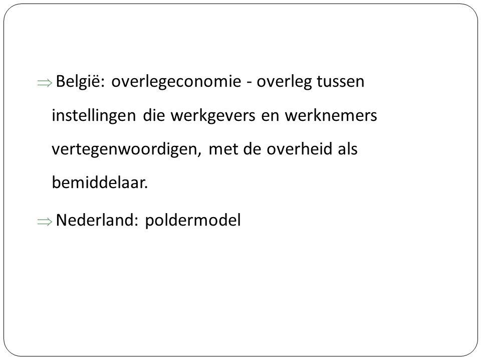  België: overlegeconomie - overleg tussen instellingen die werkgevers en werknemers vertegenwoordigen, met de overheid als bemiddelaar.  Nederland: