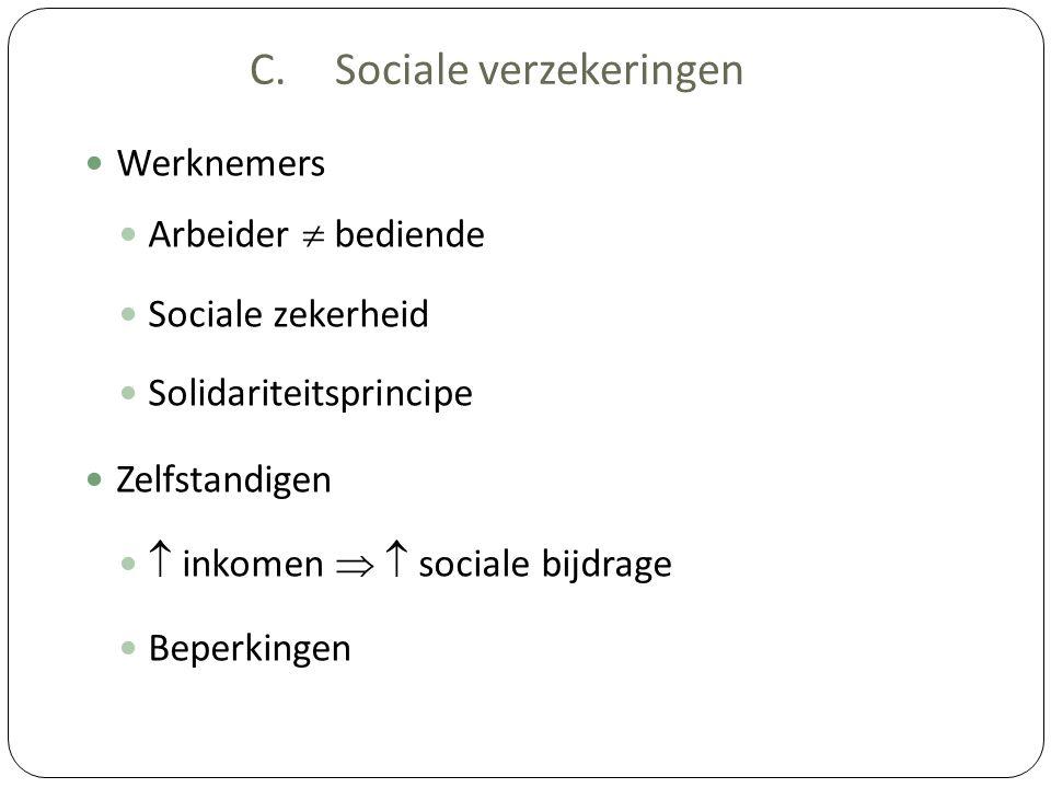 C.Sociale verzekeringen Werknemers Arbeider  bediende Sociale zekerheid Solidariteitsprincipe Zelfstandigen  inkomen   sociale bijdrage Beperkinge