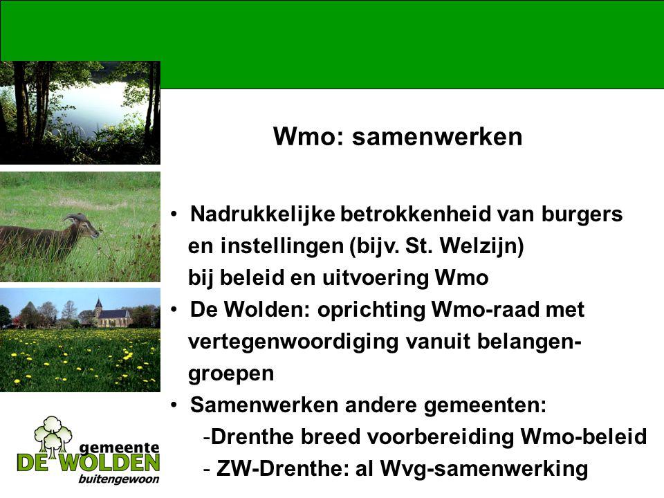 Wmo: samenwerken Nadrukkelijke betrokkenheid van burgers en instellingen (bijv.