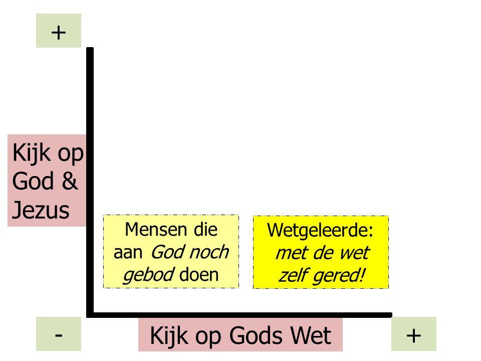 Mensen die aan God noch gebod doen Kijk op Gods Wet Kijk op God & Jezus - + + Wetgeleerde: met de wet zelf gered!