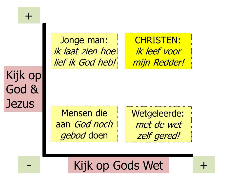 Mensen die aan God noch gebod doen Kijk op Gods Wet Kijk op God & Jezus - + + Wetgeleerde: met de wet zelf gered! Jonge man: ik laat zien hoe lief ik