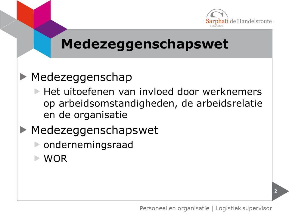 Medezeggenschap Het uitoefenen van invloed door werknemers op arbeidsomstandigheden, de arbeidsrelatie en de organisatie Medezeggenschapswet ondernemi