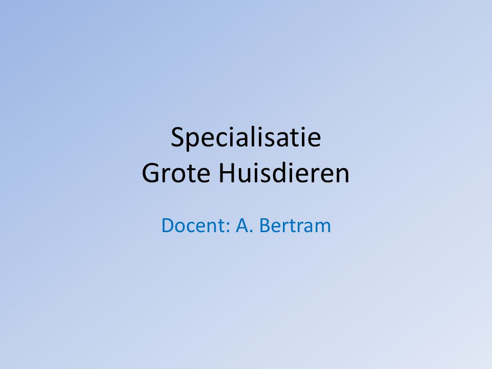 Specialisatie Grote Huisdieren Docent: A. Bertram