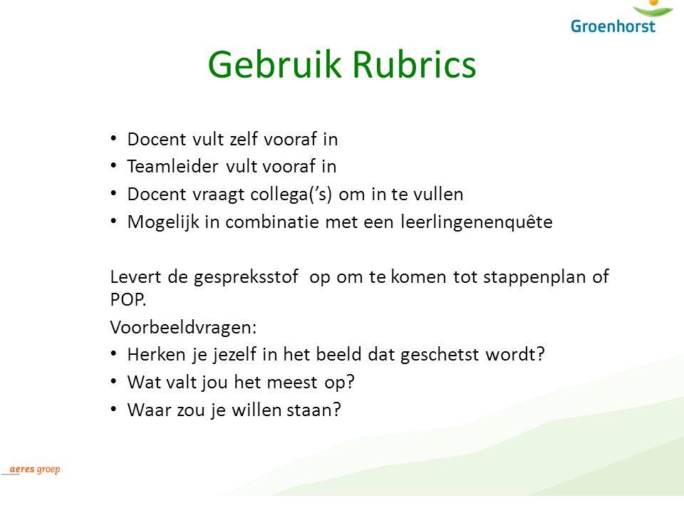 Gebruik Rubrics Docent vult zelf vooraf in Teamleider vult vooraf in Docent vraagt collega('s) om in te vullen Mogelijk in combinatie met een leerling