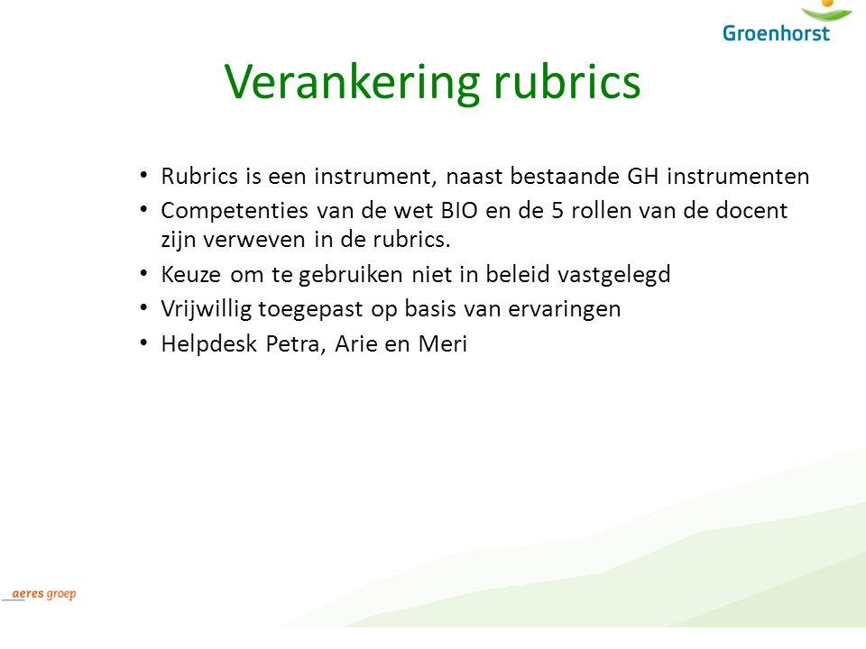 Verankering rubrics Rubrics is een instrument, naast bestaande GH instrumenten Competenties van de wet BIO en de 5 rollen van de docent zijn verweven