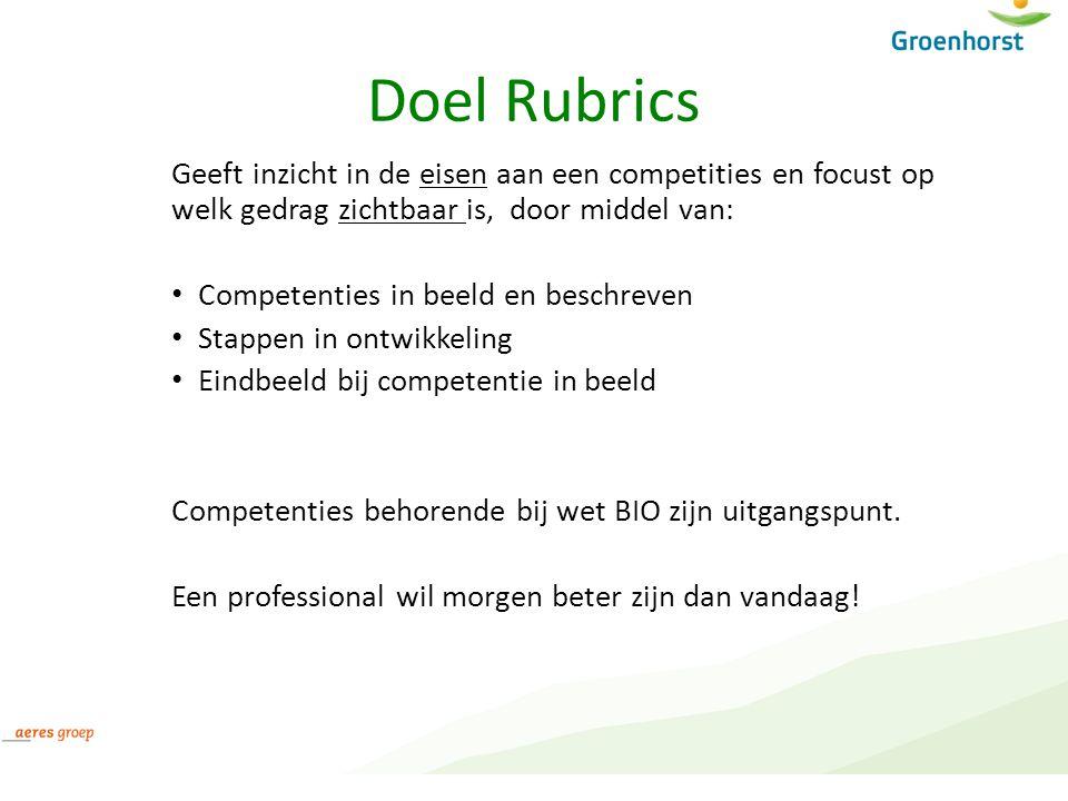 Doel Rubrics Geeft inzicht in de eisen aan een competities en focust op welk gedrag zichtbaar is, door middel van: Competenties in beeld en beschreven