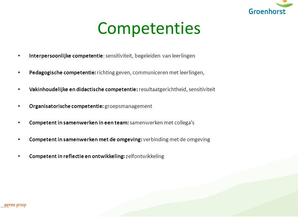 Competenties Interpersoonlijke competentie: sensitiviteit, begeleiden van leerlingen Pedagogische competentie: richting geven, communiceren met leerli