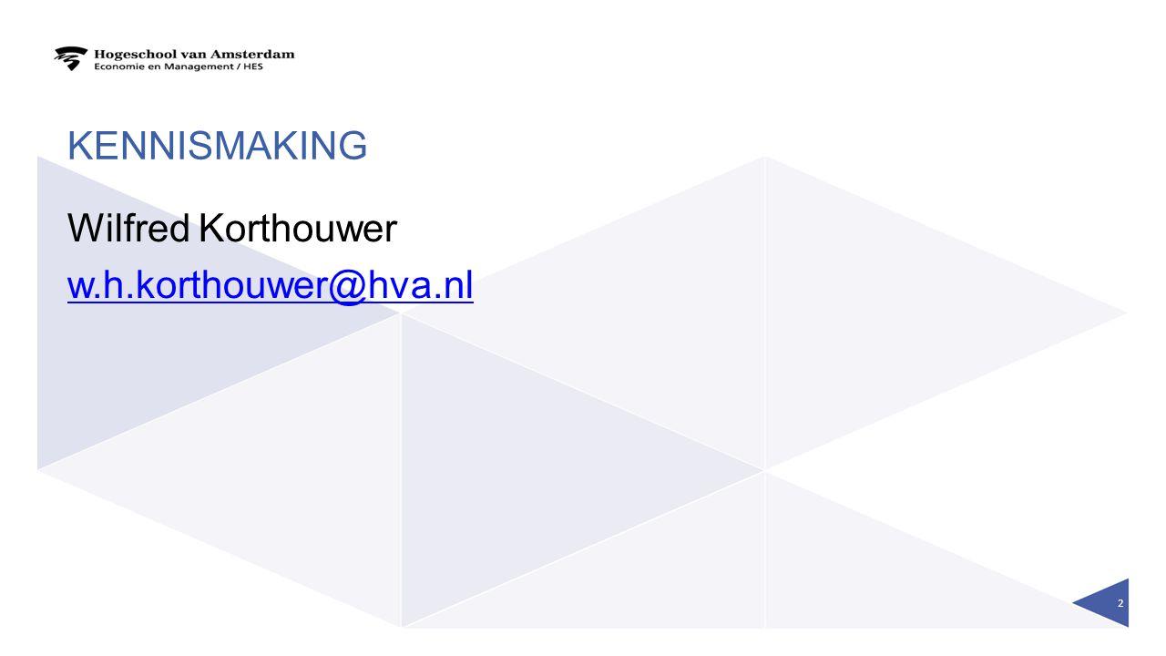 KENNISMAKING Wilfred Korthouwer w.h.korthouwer@hva.nl 2