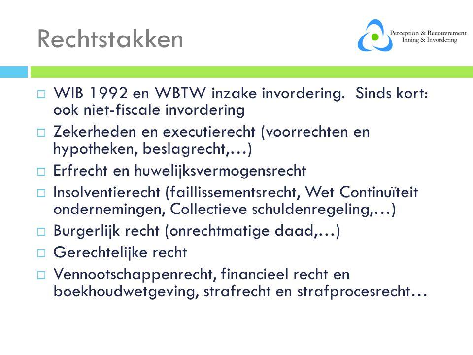 Rechtstakken  WIB 1992 en WBTW inzake invordering.