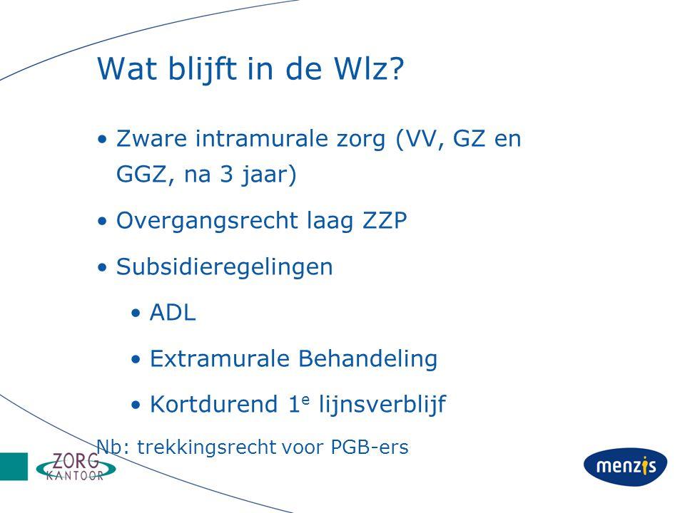 Wat blijft in de Wlz? Zware intramurale zorg (VV, GZ en GGZ, na 3 jaar) Overgangsrecht laag ZZP Subsidieregelingen ADL Extramurale Behandeling Kortdur