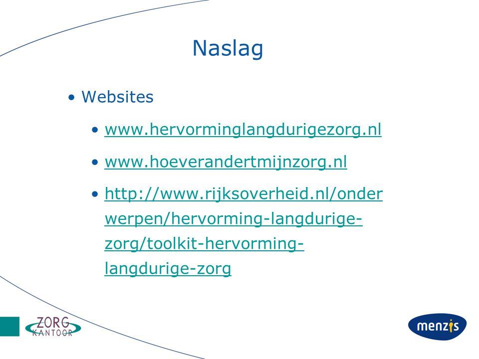 Naslag Websites www.hervorminglangdurigezorg.nl www.hoeverandertmijnzorg.nl http://www.rijksoverheid.nl/onder werpen/hervorming-langdurige- zorg/toolkit-hervorming- langdurige-zorghttp://www.rijksoverheid.nl/onder werpen/hervorming-langdurige- zorg/toolkit-hervorming- langdurige-zorg