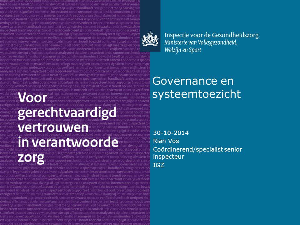 Governance en systeemtoezicht 30-10-2014 Rian Vos Coördinerend/specialist senior inspecteur IGZ