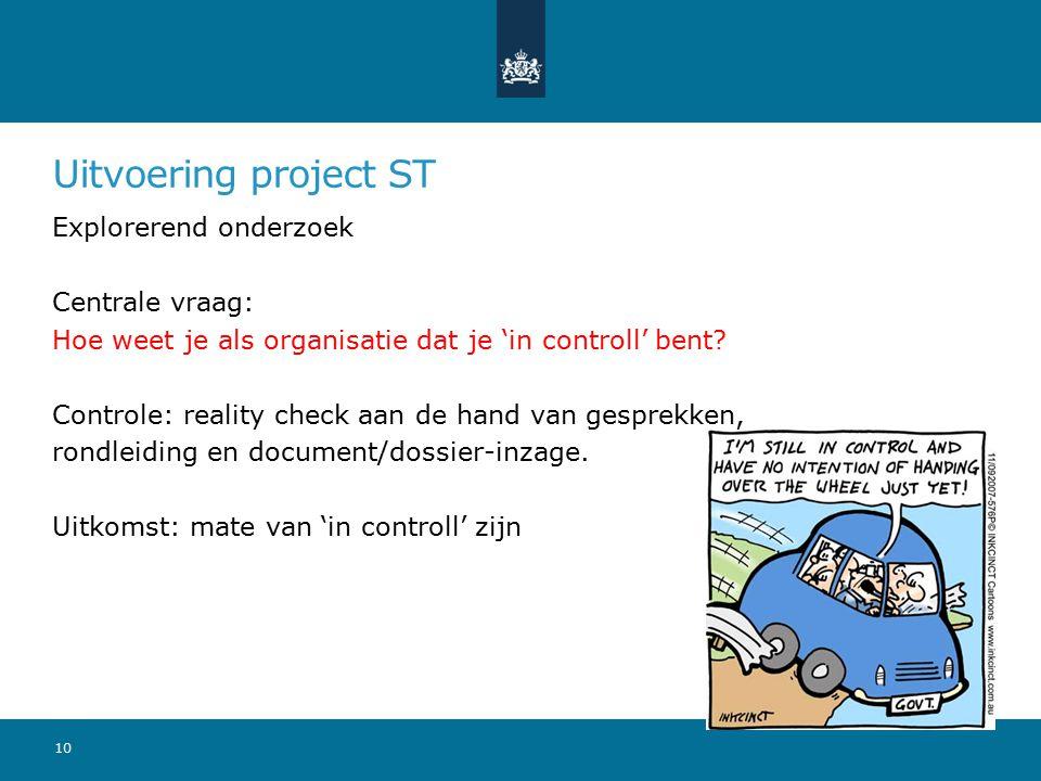 Uitvoering project ST Explorerend onderzoek Centrale vraag: Hoe weet je als organisatie dat je 'in controll' bent? Controle: reality check aan de hand