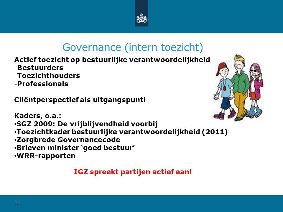 Governance (intern toezicht) Actief toezicht op bestuurlijke verantwoordelijkheid: -Bestuurders -Toezichthouders -Professionals Cliëntperspectief als uitgangspunt.