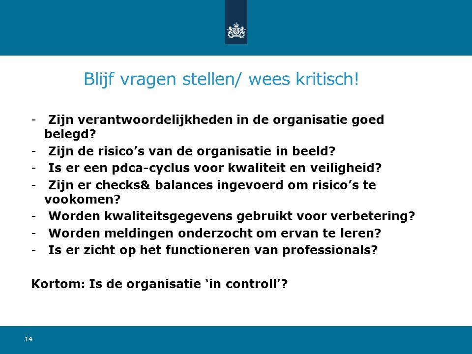 Blijf vragen stellen/ wees kritisch! - Zijn verantwoordelijkheden in de organisatie goed belegd? - Zijn de risico's van de organisatie in beeld? - Is
