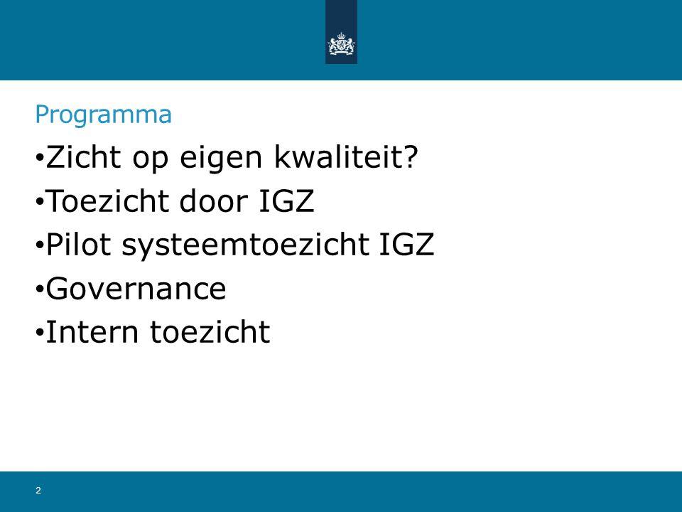 Programma Zicht op eigen kwaliteit? Toezicht door IGZ Pilot systeemtoezicht IGZ Governance Intern toezicht 2