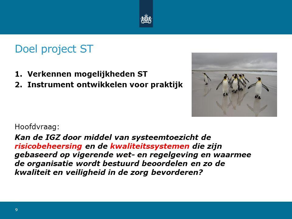 Doel project ST 1. Verkennen mogelijkheden ST 2. Instrument ontwikkelen voor praktijk Hoofdvraag: Kan de IGZ door middel van systeemtoezicht de risico