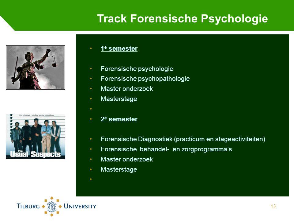 12 Track Forensische Psychologie 1 e semester Forensische psychologie Forensische psychopathologie Master onderzoek Masterstage 2 e semester Forensische Diagnostiek (practicum en stageactiviteiten) Forensische behandel- en zorgprogramma's Master onderzoek Masterstage