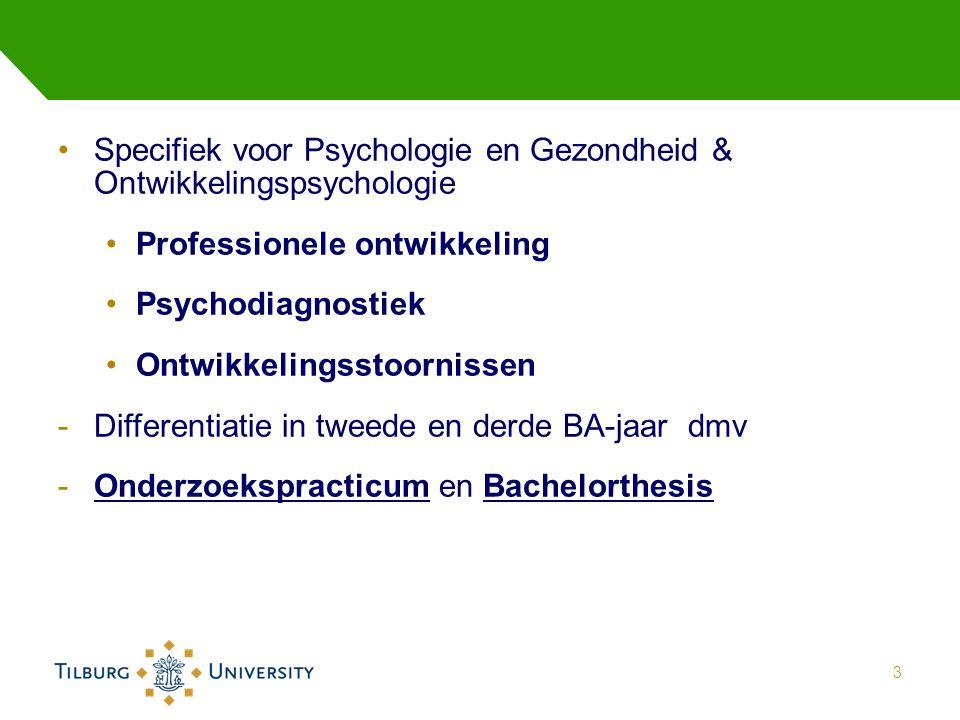 Specifiek voor Psychologie en Gezondheid & Ontwikkelingspsychologie Professionele ontwikkeling Psychodiagnostiek Ontwikkelingsstoornissen -Differentiatie in tweede en derde BA-jaar dmv -Onderzoekspracticum en Bachelorthesis 3