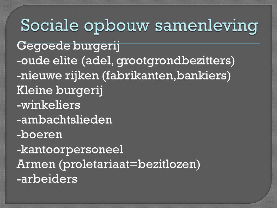 Gegoede burgerij -oude elite (adel, grootgrondbezitters) -nieuwe rijken (fabrikanten,bankiers) Kleine burgerij -winkeliers -ambachtslieden -boeren -ka