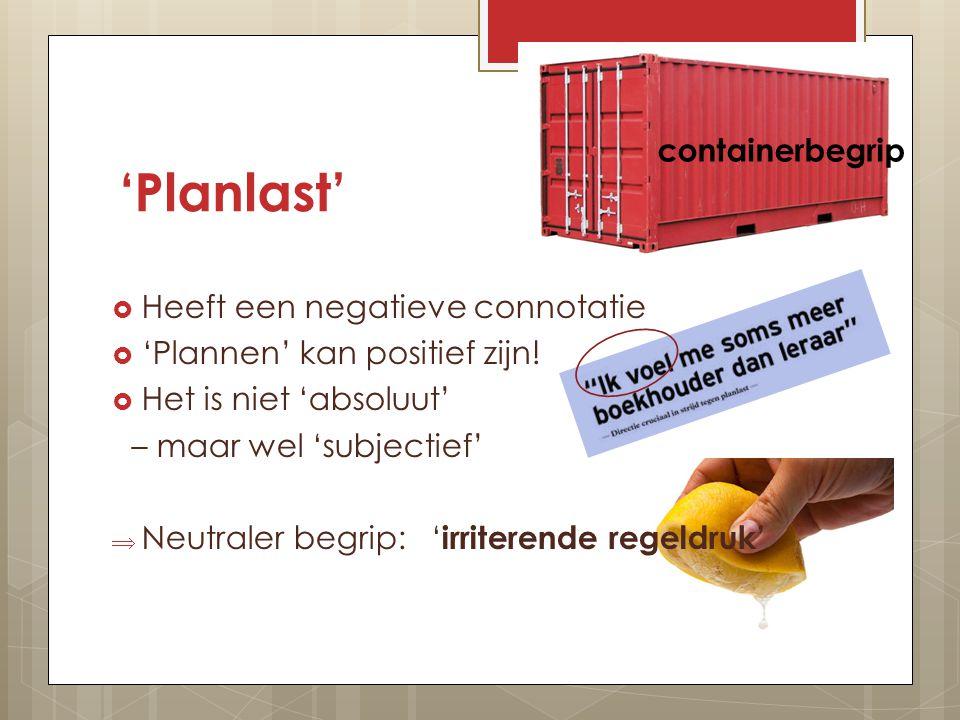 'Planlast'  Heeft een negatieve connotatie  'Plannen' kan positief zijn.