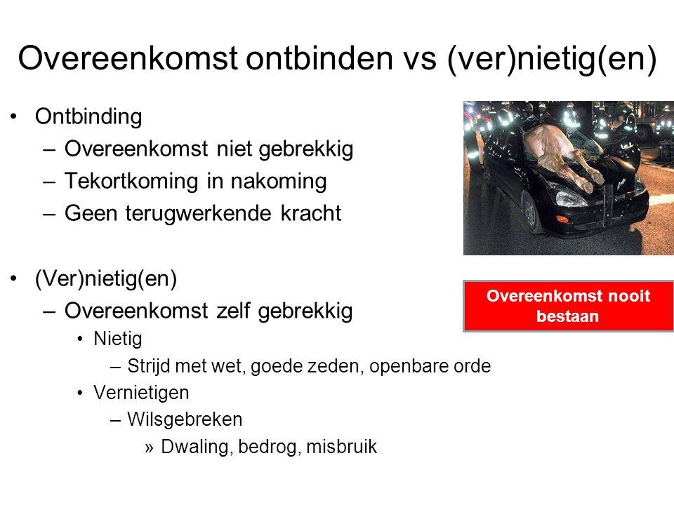 Overeenkomst ontbinden vs (ver)nietig(en) Ontbinding –Overeenkomst niet gebrekkig –Tekortkoming in nakoming –Geen terugwerkende kracht (Ver)nietig(en)