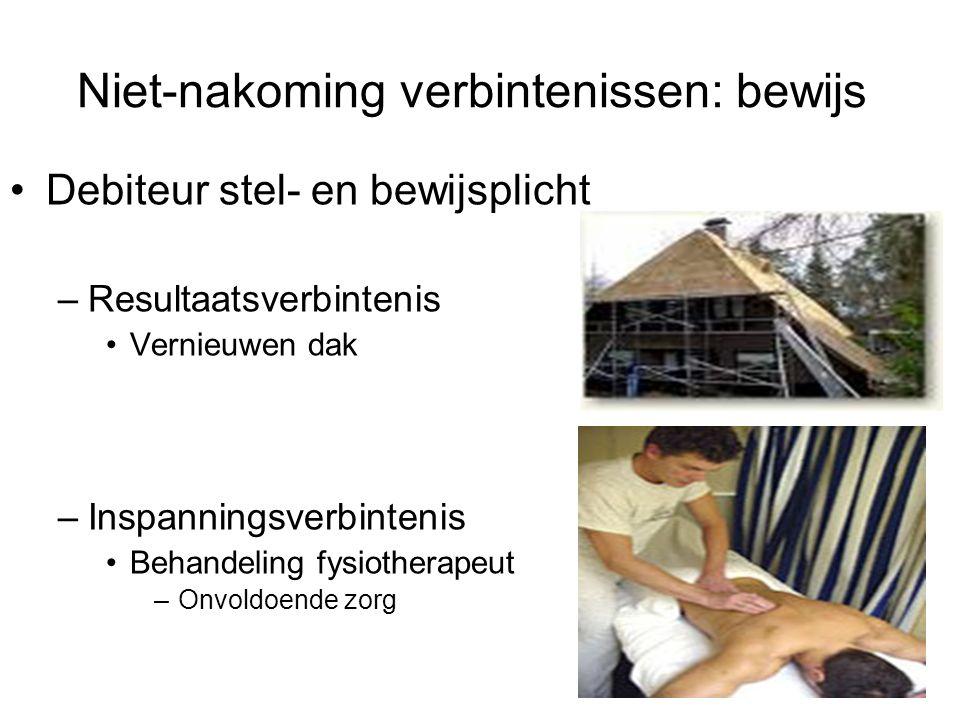 Niet-nakoming verbintenissen: bewijs Debiteur stel- en bewijsplicht –Resultaatsverbintenis Vernieuwen dak –Inspanningsverbintenis Behandeling fysiothe