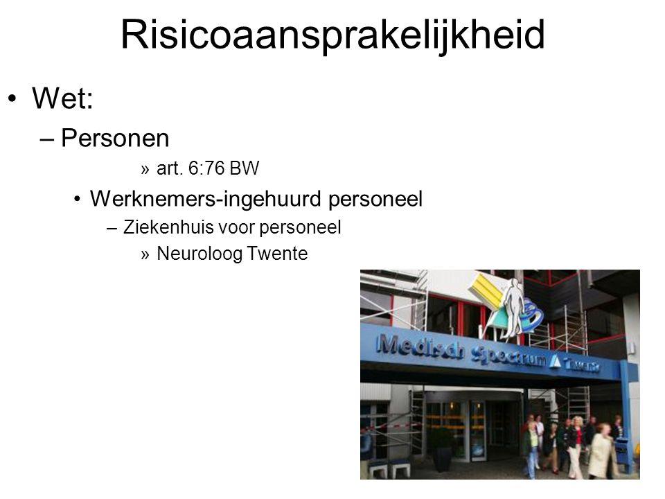 Risicoaansprakelijkheid Wet: –Personen »art. 6:76 BW Werknemers-ingehuurd personeel –Ziekenhuis voor personeel »Neuroloog Twente