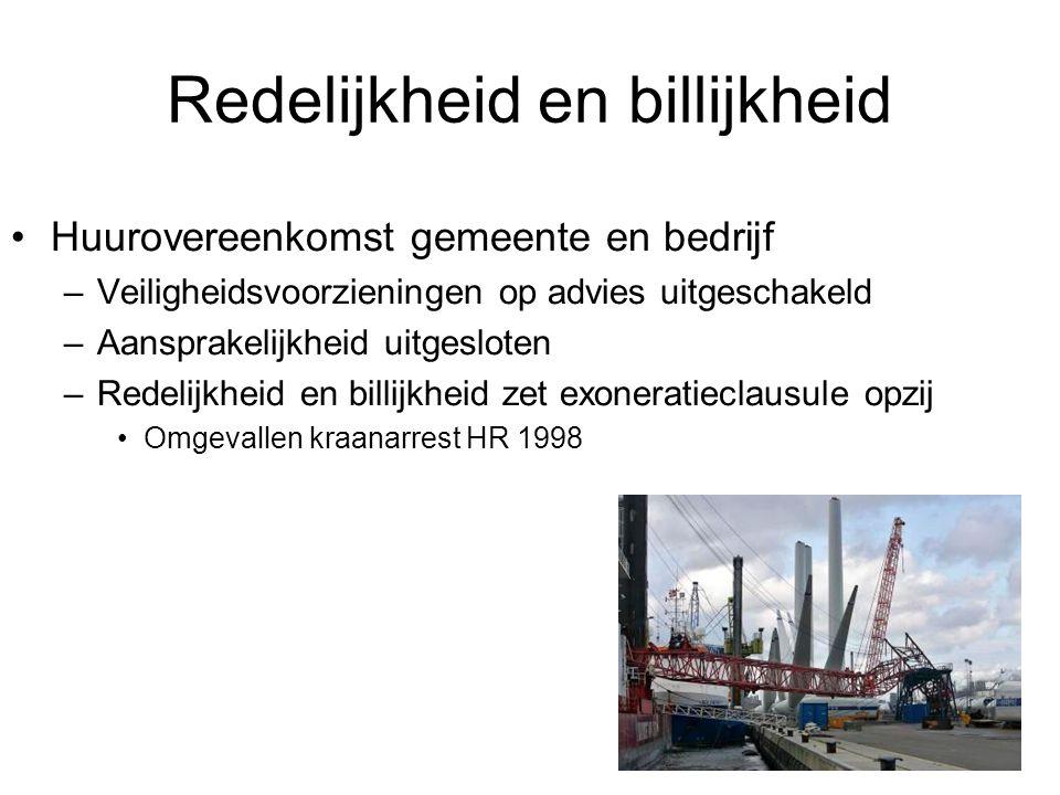 Redelijkheid en billijkheid Huurovereenkomst gemeente en bedrijf –Veiligheidsvoorzieningen op advies uitgeschakeld –Aansprakelijkheid uitgesloten –Red
