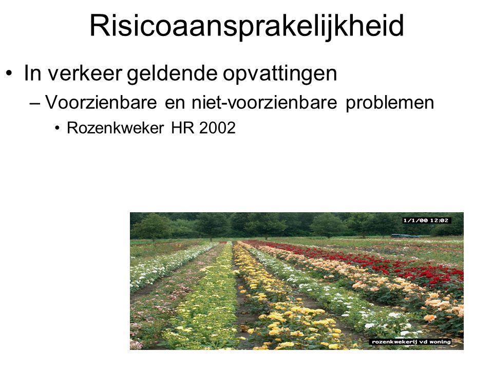Risicoaansprakelijkheid In verkeer geldende opvattingen –Voorzienbare en niet-voorzienbare problemen Rozenkweker HR 2002