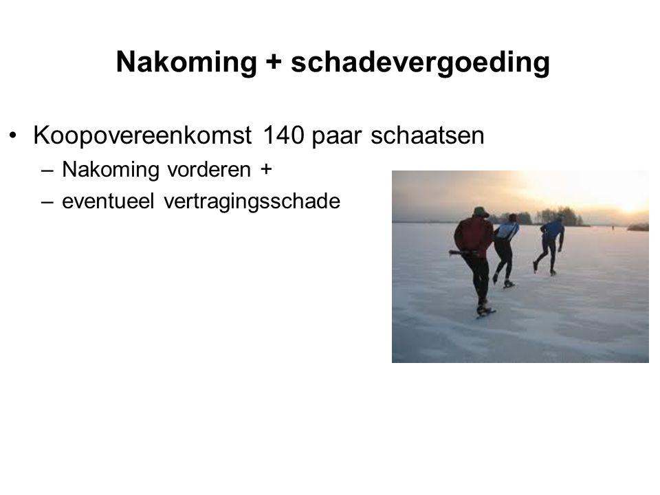 Nakoming + schadevergoeding Koopovereenkomst 140 paar schaatsen –Nakoming vorderen + –eventueel vertragingsschade