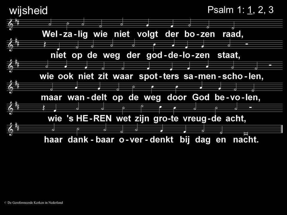 Psalm 1: 1, 2, 3 wijsheid