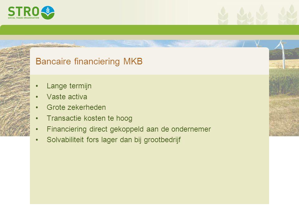 Bancaire financiering MKB Lange termijn Vaste activa Grote zekerheden Transactie kosten te hoog Financiering direct gekoppeld aan de ondernemer Solvabiliteit fors lager dan bij grootbedrijf