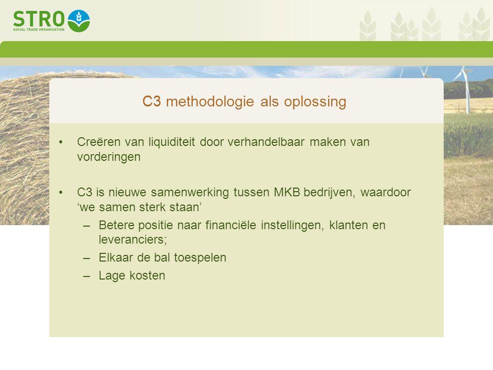 C3 methodologie als oplossing Creëren van liquiditeit door verhandelbaar maken van vorderingen C3 is nieuwe samenwerking tussen MKB bedrijven, waardoor 'we samen sterk staan' –Betere positie naar financiële instellingen, klanten en leveranciers; –Elkaar de bal toespelen –Lage kosten