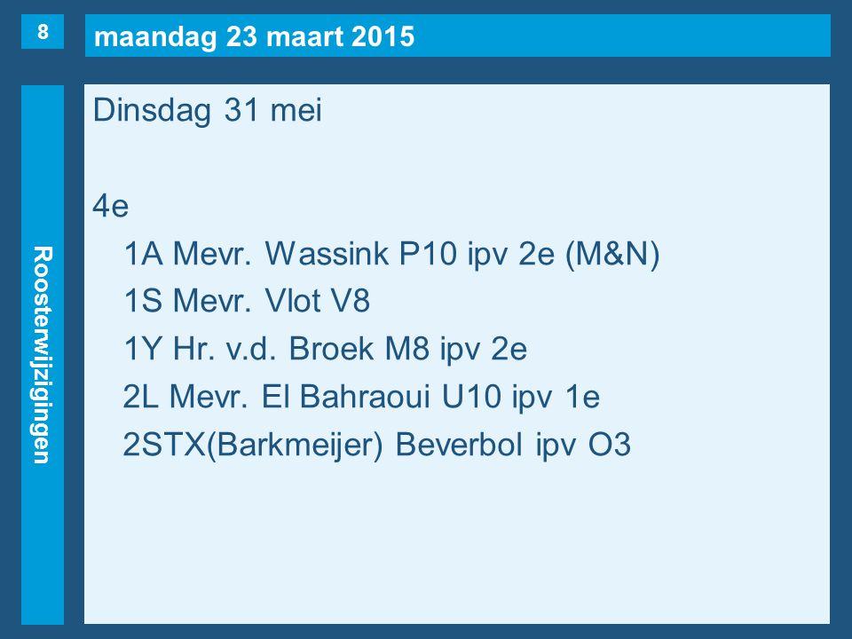 maandag 23 maart 2015 Roosterwijzigingen Dinsdag 31 mei 5evrij1C, 1U.