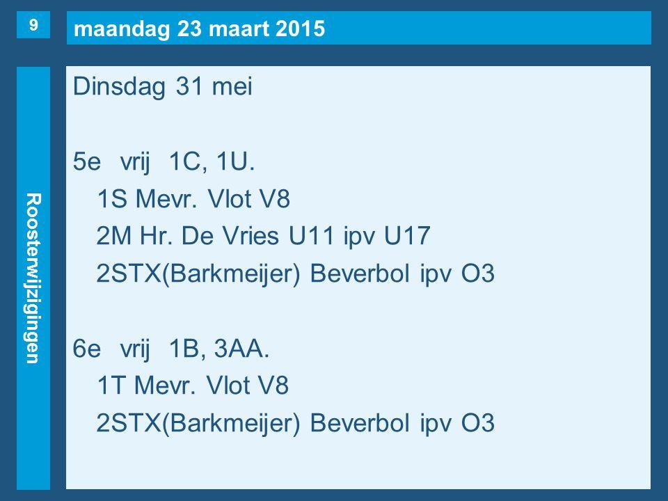 maandag 23 maart 2015 Roosterwijzigingen Dinsdag 31 mei 7evrij1E, 3VF(naar 2e, maar…).