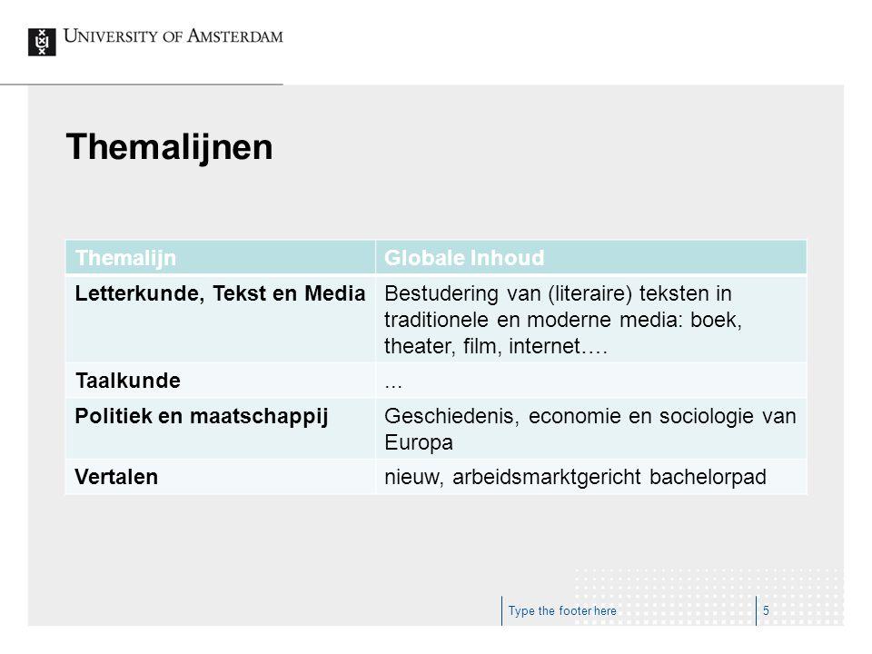 Themalijnen ThemalijnGlobale Inhoud Letterkunde, Tekst en MediaBestudering van (literaire) teksten in traditionele en moderne media: boek, theater, fi