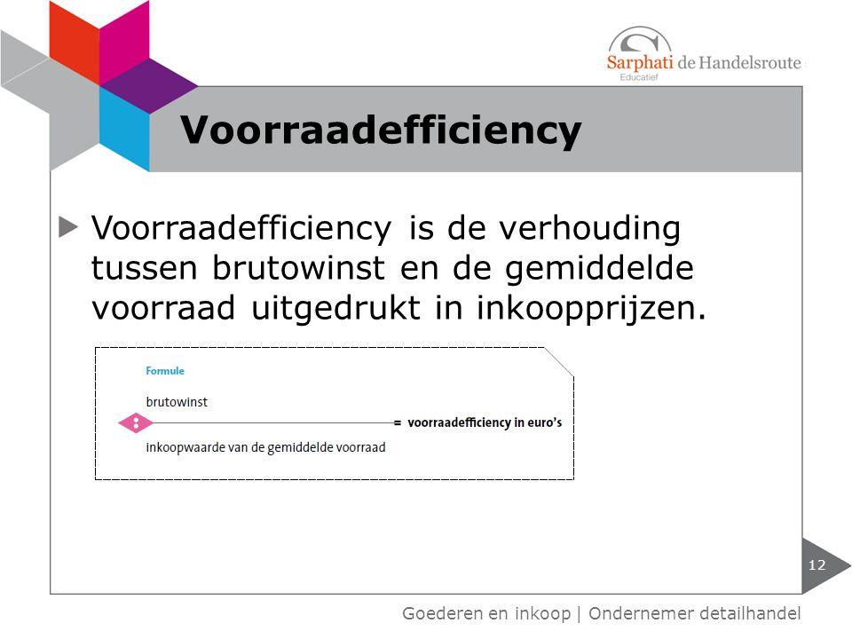 12 Goederen en inkoop | Ondernemer detailhandel Voorraadefficiency Voorraadefficiency is de verhouding tussen brutowinst en de gemiddelde voorraad uit