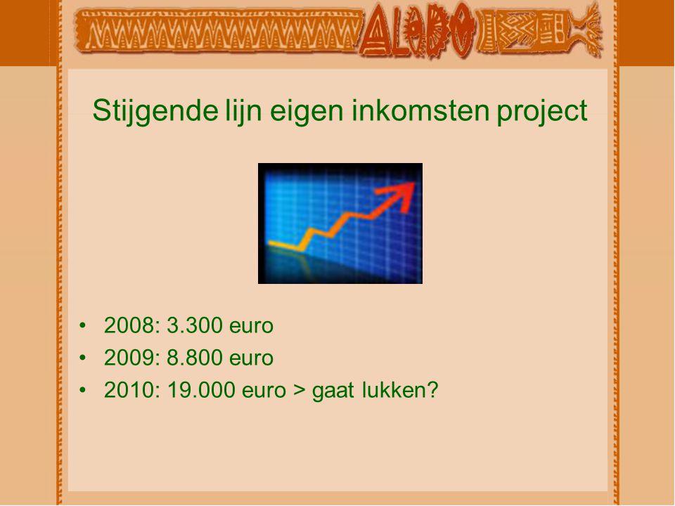 Stijgende lijn eigen inkomsten project 2008: 3.300 euro 2009: 8.800 euro 2010: 19.000 euro > gaat lukken?