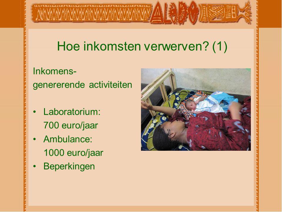 Hoe inkomsten verwerven? (1) Inkomens- genererende activiteiten Laboratorium: 700 euro/jaar Ambulance: 1000 euro/jaar Beperkingen