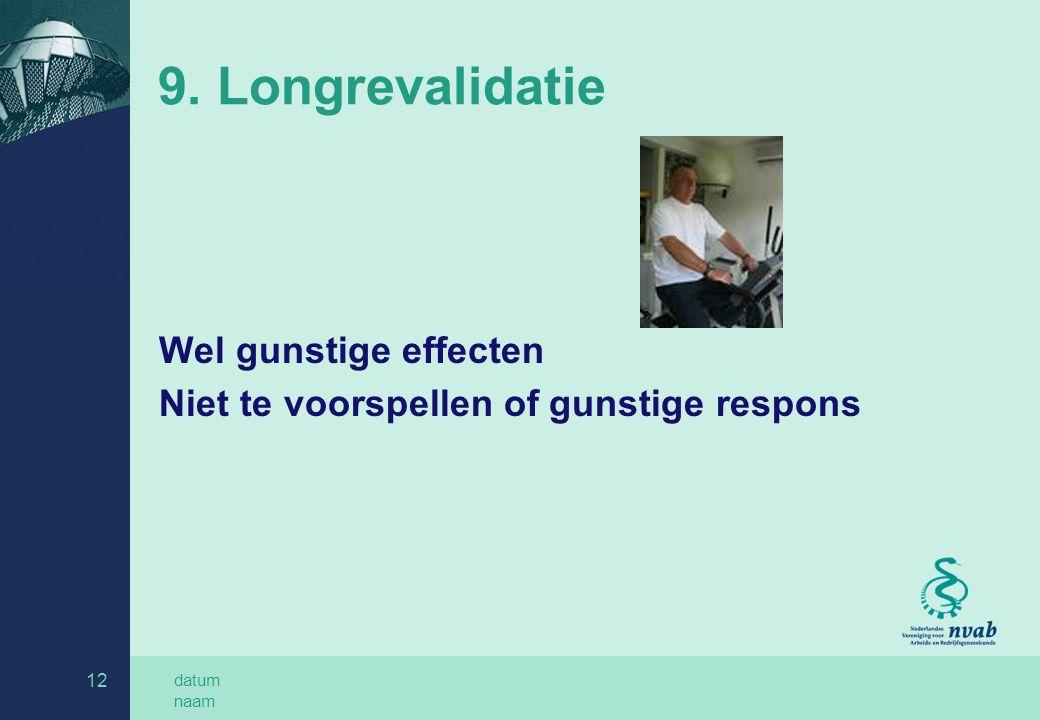 datum naam 12 9. Longrevalidatie Wel gunstige effecten Niet te voorspellen of gunstige respons