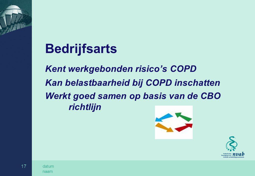 datum naam 17 Bedrijfsarts Kent werkgebonden risico's COPD Kan belastbaarheid bij COPD inschatten Werkt goed samen op basis van de CBO richtlijn