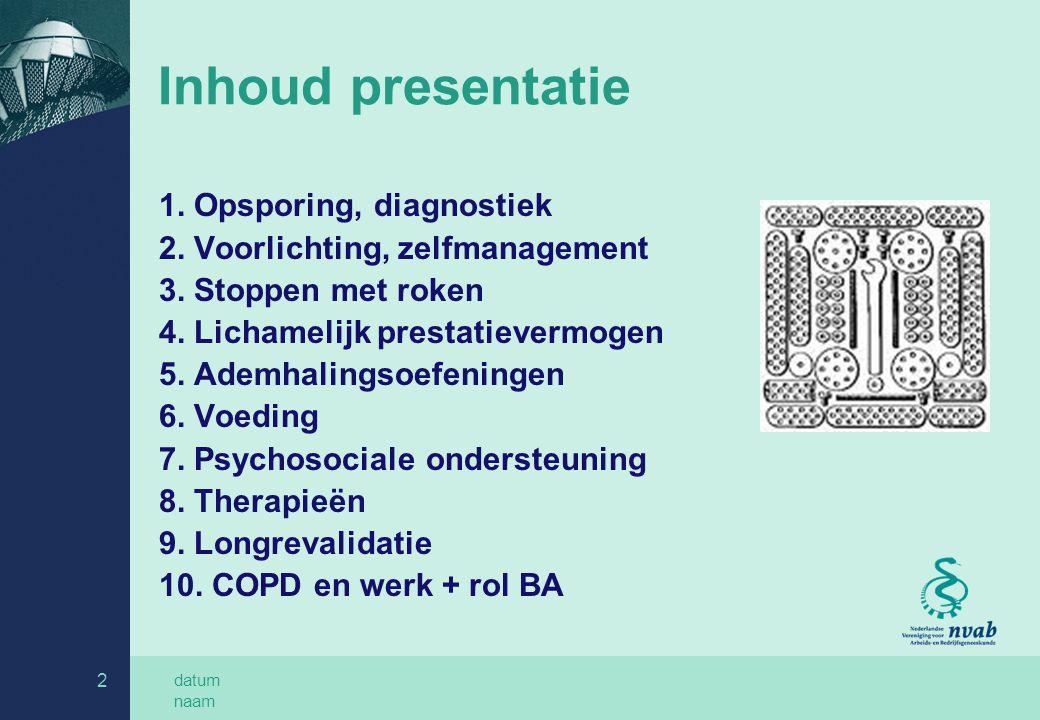 datum naam 2 Inhoud presentatie 1.Opsporing, diagnostiek 2.