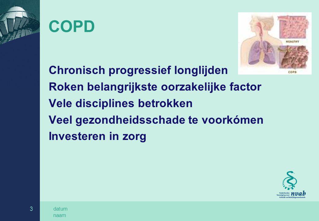 datum naam 3 COPD Chronisch progressief longlijden Roken belangrijkste oorzakelijke factor Vele disciplines betrokken Veel gezondheidsschade te voorkómen Investeren in zorg