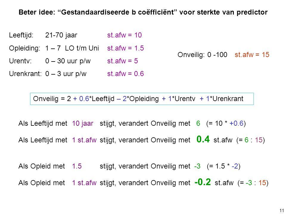 """11 Beter idee: """"Gestandaardiseerde b coëfficiënt"""" voor sterkte van predictor Leeftijd: 21-70 jaarst.afw = 10 Opleiding: 1 – 7 LO t/m Unist.afw = 1.5 U"""