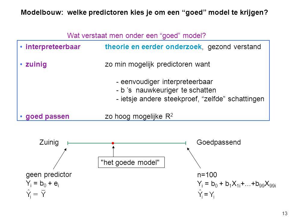 13 interpreteerbaartheorie en eerder onderzoek, gezond verstand zuinig zo min mogelijk predictoren want - eenvoudiger interpreteerbaar - b 's nauwkeur