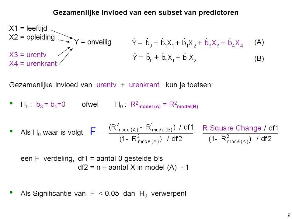 8 Gezamenlijke invloed van een subset van predictoren X1 = leeftijd X2 = opleiding X3 = urentv X4 = urenkrant Y = onveilig(A) (B) Gezamenlijke invloed